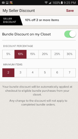 poshmark bundle discount settings