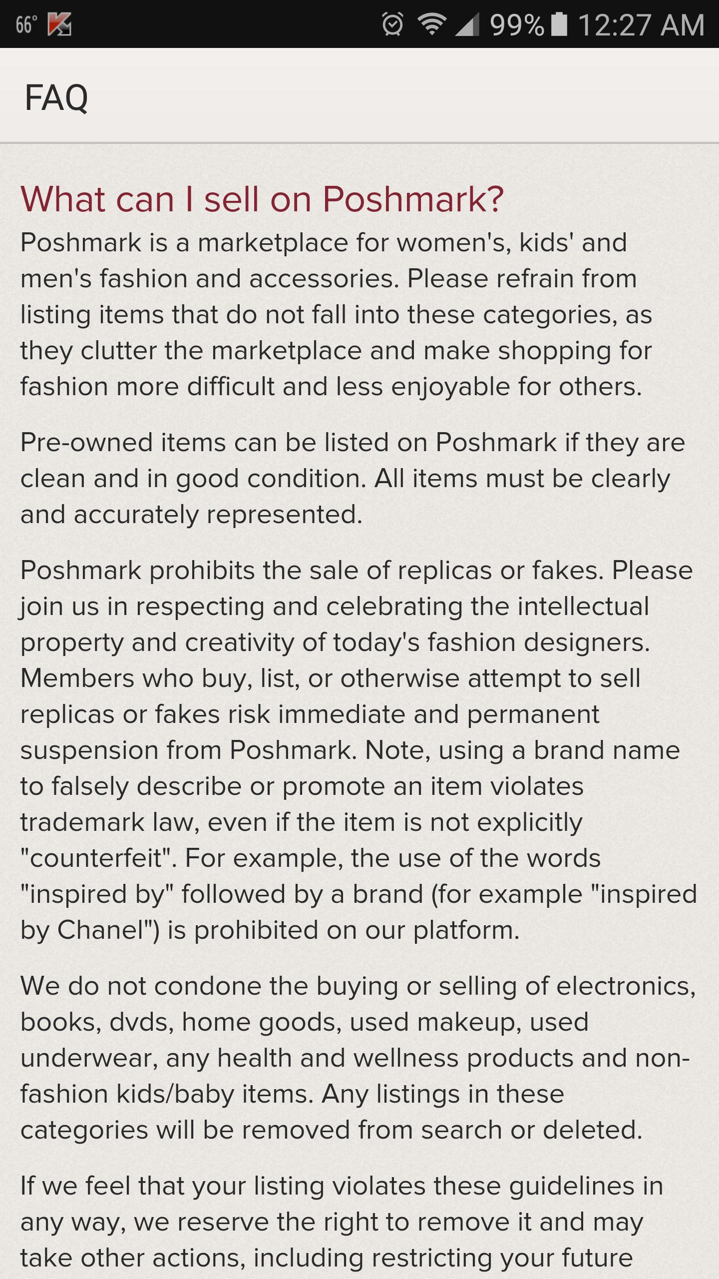 poshmark listing rules